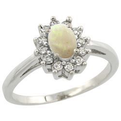 Natural 0.47 ctw Opal & Diamond Engagement Ring 10K White Gold - REF-38Z8Y