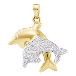 0.13 CTW Diamond Double Dolphin Fish Animal Pendant 10KT Yellow Gold - REF-18K2W