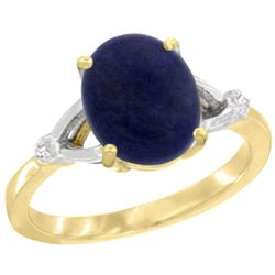 Natural 2.51 ctw Lapis & Diamond Engagement Ring 14K Yellow Gold - REF-31V7F