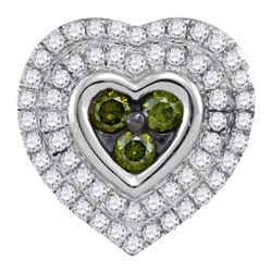 0.50 CTWGreen Color Diamond Heart Cluster Pendant 10KT White Gold - REF-28M4H