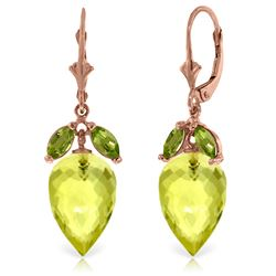 Genuine 19 ctw Quartz Lemon & Peridot Earrings Jewelry 14KT Rose Gold - REF-45H7X