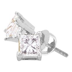 0.40 CTW Princess Diamond Solitaire Stud Earrings 14KT White Gold - REF-44N9F