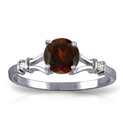 Genuine 1.07 ctw Garnet & Diamond Ring Jewelry 14KT White Gold - REF-27T8A