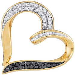 0.25 CTW Black Color Diamond Heart Pendant 10KT Yellow Gold - REF-26M9H
