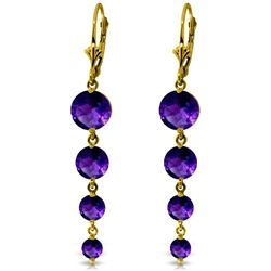 Genuine 7.8 ctw Amethyst Earrings Jewelry 14KT Yellow Gold - REF-46A3K