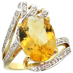 Natural 5.76 ctw citrine & Diamond Engagement Ring 14K Yellow Gold - REF-92Z7Y