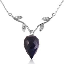 Genuine 12.92 ctw Sapphire & Diamond Necklace Jewelry 14KT White Gold - REF-42R2P