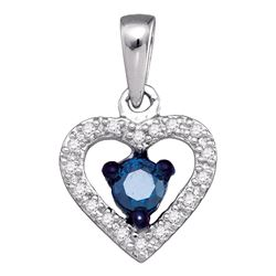 0.27 CTW Blue Color Diamond Solitaire Heart Pendant 10KT White Gold - REF-18X2Y