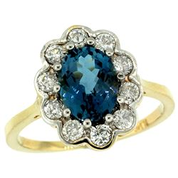 Natural 2.34 ctw London-blue-topaz & Diamond Engagement Ring 14K Yellow Gold - REF-82K2R