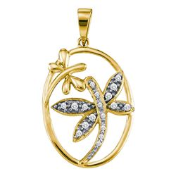 0.12 CTW Diamond Dragonfly Bug Oval Pendant 14KT Yellow Gold - REF-19H4M