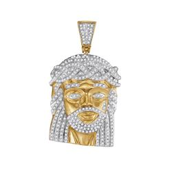 1 CTW Mens Diamond Jesus Christ Messiah Charm Pendant 10KT Yellow Gold - REF-75F2N
