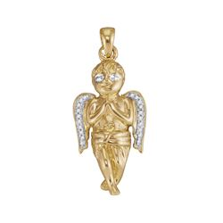 0.06 CTW Diamond Mens Small Guardian Angel Cherub Charm Pendant 10KT Yellow Gold - REF-26X9Y