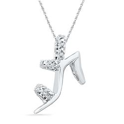 0.05 CTW Diamond Stiletto Shoe Pendant 10KT White Gold - REF-12W2K