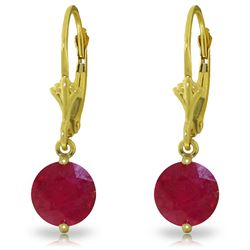 Genuine 4 ctw Ruby Earrings Jewelry 14KT Yellow Gold - REF-45F8Z