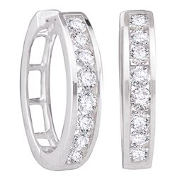 0.50 CTWDiamond Hoop Earrings 14KT White Gold - REF-56X2Y