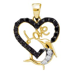 0.40 CTW Black Color Diamond Heart Dolphin Love Pendant 14KT Yellow Gold - REF-20H9M