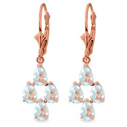 Genuine 3.9 ctw Aquamarine Earrings Jewelry 14KT Rose Gold - REF-51H8X