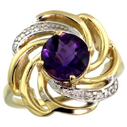 Natural 2.25 ctw amethyst & Diamond Engagement Ring 14K Yellow Gold - REF-57V8F
