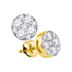 1 CTW Diamond Cluster Earrings 14KT Yellow Gold - REF-97M4H