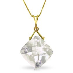 Genuine 8.75 ctw White Topaz Necklace Jewelry 14KT Yellow Gold - REF-27P2H