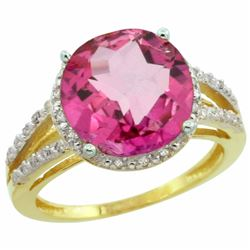 Natural 5.34 ctw Pink-topaz & Diamond Engagement Ring 10K Yellow Gold - REF-35R4Z