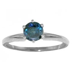 Genuine 0.50 ctw Blue Diamond Ring Jewelry 14KT White Gold - REF-135P8H