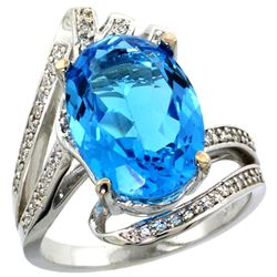 Natural 5.76 ctw swiss-blue-topaz & Diamond Engagement Ring 14K White Gold - REF-92X7A
