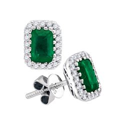 1.5 CTW Cushion Natural Emerald Solitaire Diamond Earrings 14KT White Gold - REF-97W4K