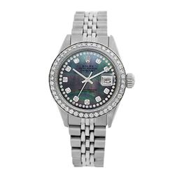 Rolex Pre-owned 26mm Womens Custom String Tahitian Dial Stainless Steel - REF-480K4X