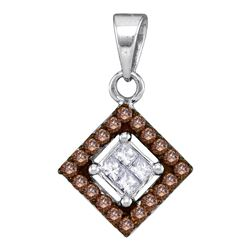 0.30 CTW Cognac-brown Color Diamond Diagonal Square Pendant 10KT White Gold - REF-16Y4X