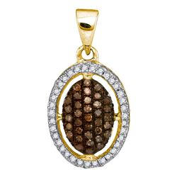0.33 CTW Cognac-brown Color Diamond Halo Cluster Pendant 10KT Yellow Gold - REF-19M4H