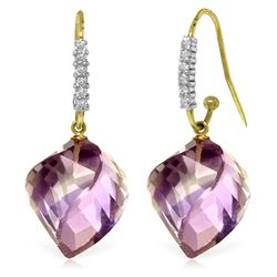Genuine 21.68 ctw Amethyst & Diamond Earrings Jewelry 14KT Yellow Gold - REF-61W3Y