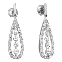 0.75 CTW Diamond Teardrop Dangle Screwback Earrings 14KT White Gold - REF-75F2N