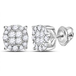 0.50 CTWPrincess Diamond Soleil Cluster Earrings 14KT White Gold - REF-52X4Y