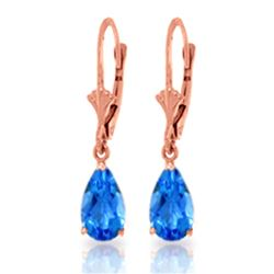 Genuine 3.77 ctw Blue Topaz Earrings Jewelry 14KT Rose Gold - REF-30X2M