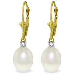 Genuine 8.1 ctw Pearl & Diamond Earrings Jewelry 14KT Yellow Gold - REF-27M2T