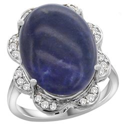 Natural 9.73 ctw lapis-lazuli & Diamond Engagement Ring 14K White Gold - REF-108X4A