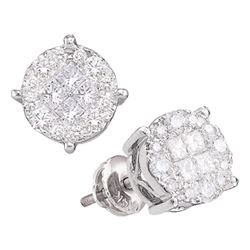 1.5 CTW Princess Diamond Soleil Cluster Earrings 14KT White Gold - REF-149N9F