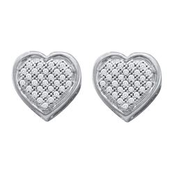0.14 CTW Diamond Heart Screwback Earrings 10KT White Gold - REF-18H2M