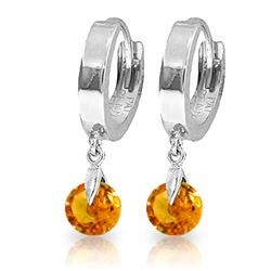Genuine 1.6 ctw Citrine Earrings Jewelry 14KT White Gold - REF-25A9K