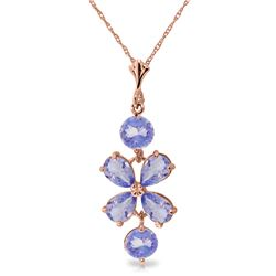Genuine 3.15 ctw Tanzanite Necklace Jewelry 14KT Rose Gold - REF-45M5T