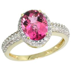 Natural 1.91 ctw Pink-topaz & Diamond Engagement Ring 14K Yellow Gold - REF-41R3Z