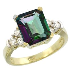 Natural 2.86 ctw mystic-topaz & Diamond Engagement Ring 10K Yellow Gold - REF-53G5M
