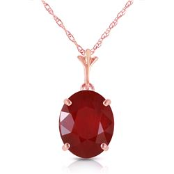 Genuine 3.5 ctw Ruby Necklace Jewelry 14KT Rose Gold - REF-38R6P