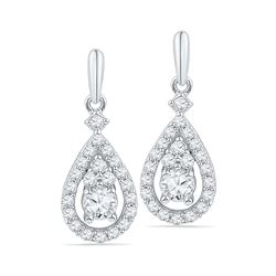 0.50 CTWDiamond Solitaire Teardrop Dangle Earrings 10KT White Gold - REF-49W5K