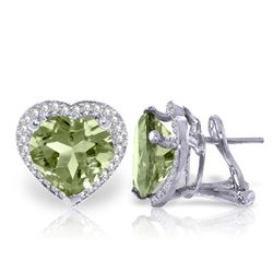 Genuine 6.48 ctw Green Amethyst & Diamond Earrings Jewelry 14KT White Gold - REF-101K4V
