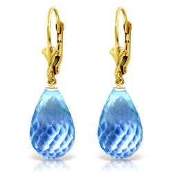 Genuine 28 ctw Blue Topaz Earrings Jewelry 14KT Yellow Gold - REF-40M5T