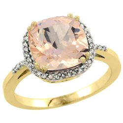 Natural 2.81 ctw Morganite & Diamond Engagement Ring 10K Yellow Gold - REF-59N7G