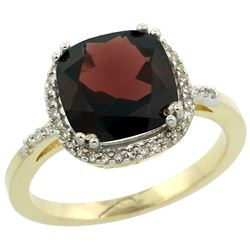 Natural 4.11 ctw Garnet & Diamond Engagement Ring 10K Yellow Gold - REF-38V2F