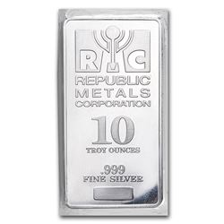 Genuine 10 oz 0.999 Fine Silver Bar - Republic Metals Corp
